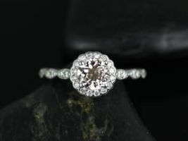 Rosados Box Sunny 6mm 14kt White Gold Morganite and Diamonds Flower Halo WITHOUT Milgrain Engagement Ring