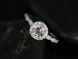 Rosados Box Sunny 6mm 14kt White Gold Round Morganite and Diamonds Flower Halo WITH Milgrain Engagement Ring