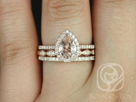 Rosados Box Tabitha 8x6mm and Christie Rose Gold Pear Morganite and Diamonds Halo TRIO Wedding Set