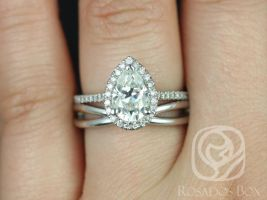 Rosados Box Tabitha 9x6mm & PLAIN Skinny Lima 14kt White Gold Pear F1- Moissanite and Diamonds Halo Wedding Set