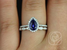 Rosados Box Tabitha 8x5mm & Christie 14kt White Gold Pear Blue Sapphire and Diamonds Halo Wedding Set