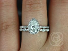 Tabitha 8x5mm & Christie 14kt White Gold Pear F1- Moissanite and Diamonds Halo Wedding Set