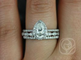 Rosados Box Tabitha 8x5mm & Christie 14kt White Gold Pear F1- Moissanite and Diamonds Halo TRIO Wedding Set