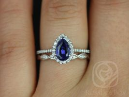 Rosados Box Tabitha 8x5mm & Ember 14kt White Gold Pear Blue Sapphire and Diamonds Halo Wedding Set