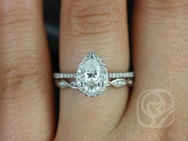 Rosados Box Tabitha 8x5mm & Ember 14kt White Gold Pear F1- Moissanite and Diamonds Halo Wedding Set