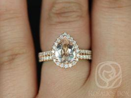 Rosados Box Tabitha 9x7mm 14kt Rose Gold Pear Morganite and Diamonds Halo Wedding Set