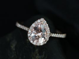 Rosados Box Tabitha 8x6mm 14kt Rose Gold Pear Morganite and Diamonds Halo Engagement Ring