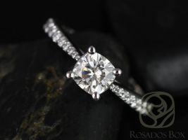 Rosados Box Taylor 6mm 14kt White Gold Cushion F1- Moissanite and Diamond Cathedral Engagement Ring
