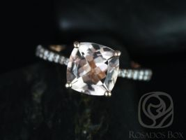 Rosados Box Taylor 9mm 14kt Rose Gold Cushion Morganite and Diamonds Cathedral Engagement Ring