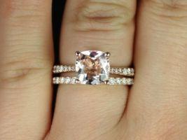 Rosados Box Taylor 8mm 14kt Rose Gold Cushion Morganite and Diamonds Cathedral Wedding Set