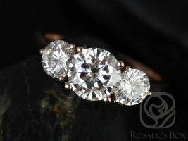 Rosados Box Tina 7mm 14kt Rose Gold Round F1- Moissanite 3 Stone Engagement Ring