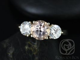 Rosados Box Tina 7mm 14kt Yellow Gold Round Morganite and F1- Moissanite 3 Stone Engagement Ring