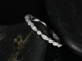 Rosados Box Ultra Petite Bead & Eye 14kt White Gold Vintage Style WITH Hand Milgrain Beading Eternity Band