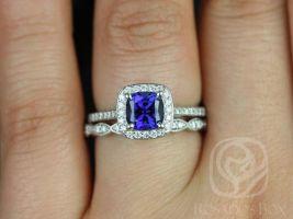 Rosados Box Hollie 6mm & Christie 14kt White Gold Cushion Blue Sapphire and Diamonds Halo Wedding Set