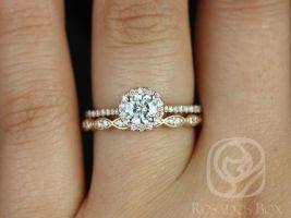 Rosados Box Kubian 5mm & Christie 14kt Rose Gold F1- Moissanite and Diamonds Halo Wedding Set