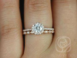 Rosados Box Kubian 5mm & Ultra Petite Bead Eye 14kt F1- Moissanite and Diamonds Halo Wedding Set
