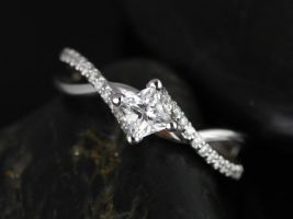 Rosados Box Valentina 4mm 14kt White Gold Princess White Topaz and Diamonds Twist Engagement Ring