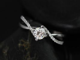 Rosados Box Valentina 4.50mm 14kt White Gold Round Cut Diamond Twist Engagement Ring