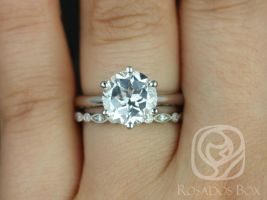 Rosados Box Webster 9mm & Ult Pet Bead Eye 14kt White Gold Round White Topaz Six-Prong Webbed Wedding Set