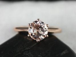 Rosados Box Webster 7mm 14kt Rose Gold Round Morganite 6-Prong Webbed Engagement Ring