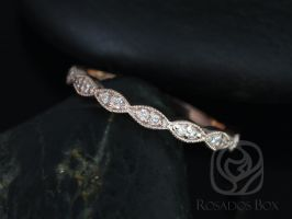 Rosados Box 14kt Rose Gold Matching Band to Helena Leaves Diamond HALFWAY Eternity Band