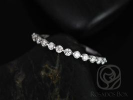 Rosados Box Petite Naomi/Petite Bubble & Breathe 14kt White Gold Diamond HALFWAY Eternity Band