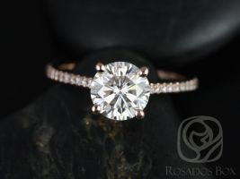 Rosados Box Eloise 7mm 14kt Rose Gold Round F1- Moissanite and Diamonds Cathedral Engagement Ring