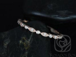 Rosados Box Ultra Petite Bead & Eye 14kt Rose Gold Vintage WITHOUT Milgrain Diamond ALMOST Eternity Band