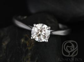 Rosados Box Ready to Ship Flora 6.5mm Platinum Round Forever One DEF Moissanite Cathedral Solitaire Engagement Ring