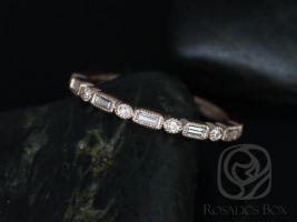 Rosados Box Ivanna 14kt Rose Gold Round & Baguette Diamonds WITH Milgrain HALFWAY Eternity Band