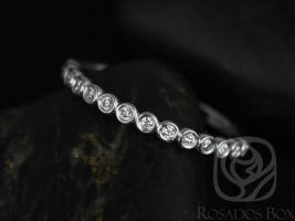 Rosados Box Petite Bubbles 14kt White Gold Bezel Round Diamonds HALFWAY Eternity Band