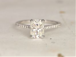 Rosados Box Whitney 8x6mm 14kt White Gold Forever One Moissanite Diamond Dainty Pave Minimalist Rectangle Cushion Engagement Ring