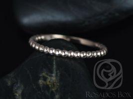 Rosados Box 14kt Rose Gold Petite Buddha Beads Plain Wedding Band