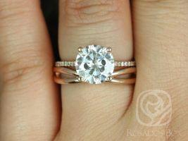 Rosados Box Eloise 9mm & PLAIN Skinny Lima 14kt Rose Gold Round F1- Moissanite Cathedral Wedding Set