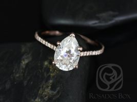 Rosados Box Ann 10x7mm 14kt Rose Gold Pear Forever One Moissanite Diamonds Thin Cathedral Engagement Ring