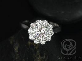 Rosados Box Blossom 6.5mm 14kt White Gold Round F1- Moissanite and Diamonds Flower Halo Engagement Ring