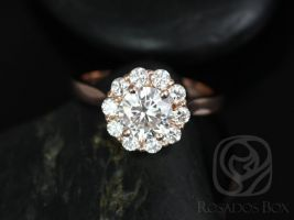 Rosados Box Blossom 6.5mm 14kt Rose Gold Round F1- Moissanite and Diamonds Flower Halo Engagement Ring