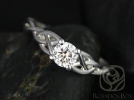 Rosados Box Cassidy 1/2ct 14kt White Gold Round Diamond Celtic Knot Engagement Ring