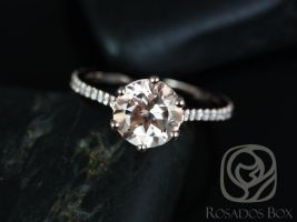 Rosados Box Dora 14kt Rose Gold Morganite Engagement Ring w/Diamond 8mm Round Cathedral Webbed 6 Prong Classic
