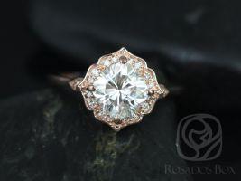 Rosados Box Lily 7mm 14kt Rose Gold Cushion F1- Moissanite and Diamond Kite Cushion Halo Engagement Ring