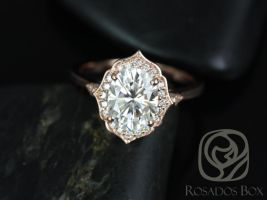 Rosados Box Mae 9x7mm Oval F1- 14kt Rose Gold Moissanite Halo Engagement Ring w/ Diamond WITHOUT Milgrain