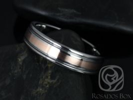 Rosados Box Aidan Double Grooved Pipe W/ 2mm Striped Rose Gold High Finish Band