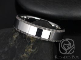 Rosados Box Cesar 6mm Tungsten Spotted Beveled Edge High Finish Band