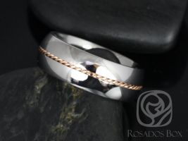 Rosados Box Darth 8mm 14kt Rose Gold & Cobalt Single Braided Band