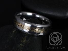 Rosados Box Kenshi 14kt Yellow Gold & Shakudo Mokume Gane Tungsten Carbide Beveled Edge Band