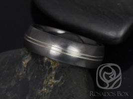 Rosados Box Burton 7mm Black Zirconium Double Striped Band