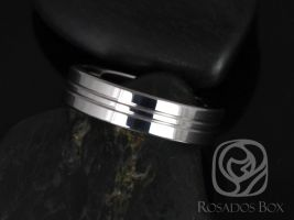 Rosados Box Isaac 6mm Tungsten Straight Pipe Double Striped Groove High Finish Band