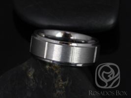 Rosados Box Emory 8mm Tungsten Raised Edge Straight Grooved Brick Duo Finish Band