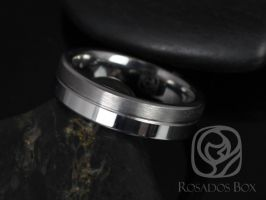 Rosados Box Justin 6mm Tungsten Straight Pipe Symmetrical Grooved Duo Finish Band