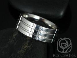 Rosados Box Jack 8mm Cobalt Laser Etched Plaid Grid Pattern Pipe High Finish Band